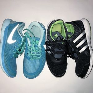 Nike Shoes - 2 pairs Girl's Nike Adidas Sneakers 5Y GUC shoes
